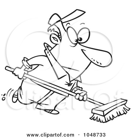 Royalty-Free (RF) Clip Art Illustration of a Cartoon Black And White Outline Design Of A Man Using A Push Broom by toonaday