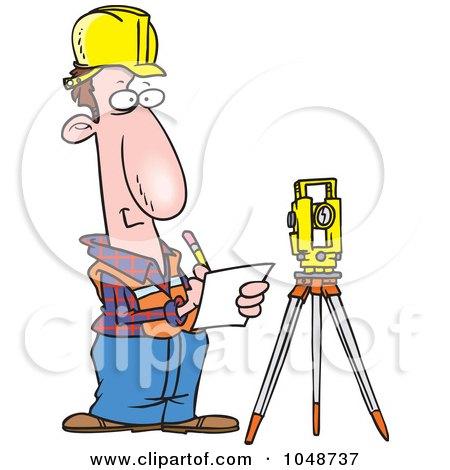 Royalty-Free (RF) Clip Art Illustration of a Cartoon Construction Surveyor by toonaday