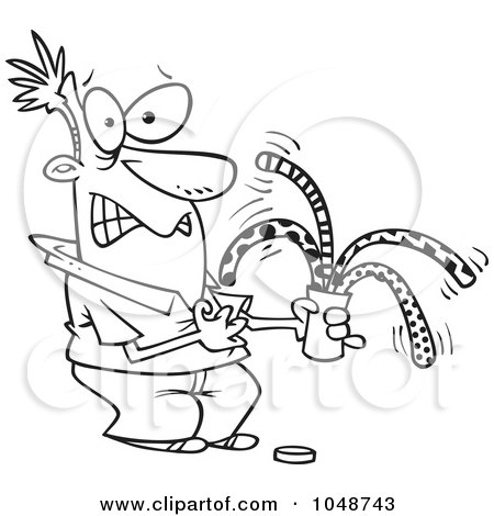 Royalty-Free (RF) Clip Art Illustration of a Cartoon Black And White Outline Design Of A Man Opening A Surprise Can Of Worms by toonaday