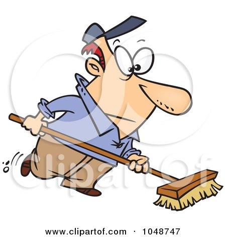 Royalty-Free (RF) Clip Art Illustration of a Cartoon Man Using A Push Broom by toonaday