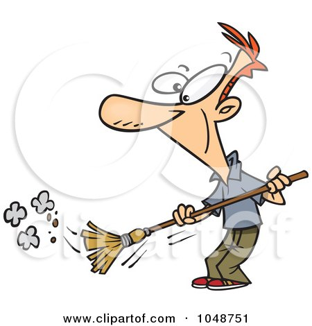 Royalty-Free (RF) Clip Art Illustration of a Cartoon Man Sweeping by toonaday