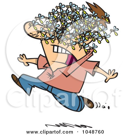 Royalty-Free (RF) Clip Art Illustration of a Cartoon Man Being Attacked By A Swarm Of Bees by toonaday