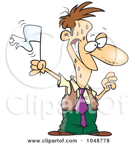 Royalty-Free (RF) Clip Art Illustration of a Cartoon Surrendering Businessman by toonaday