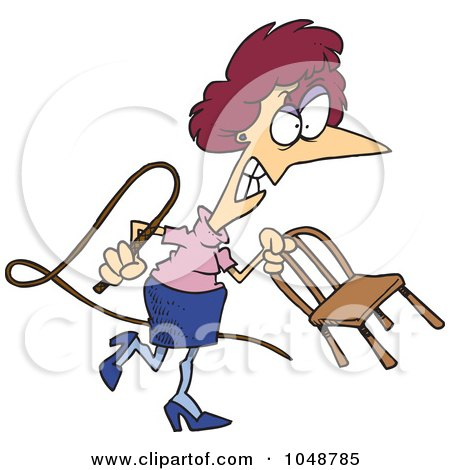 Royalty-Free (RF) Clip Art Illustration of a Cartoon Mean Businesswoman With A Whip by toonaday