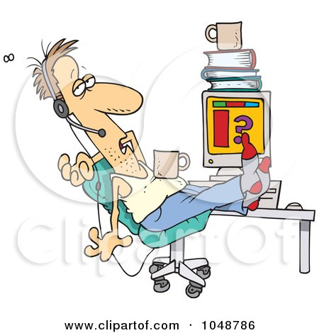 Royalty-Free (RF) Clip Art Illustration of a Cartoon Disgusting Customer Support Worker by toonaday