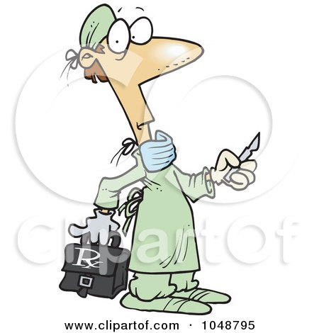 Royalty-Free (RF) Clip Art Illustration of a Cartoon Surgeon Holding A Scalpel by toonaday