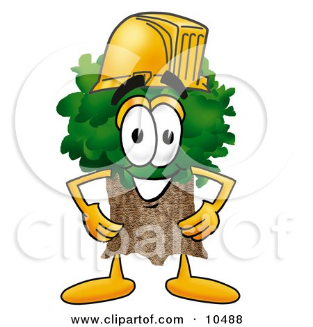 Tree Mascot Cartoon Character Wearing a Helmet Posters, Art Prints
