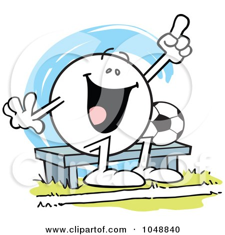 Royalty-Free (RF) Clip Art Illustration of an Moodie Character Soccer Bench Woarmer Cheering by Johnny Sajem