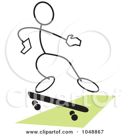 Royalty-Free (RF) Clip Art Illustration of a Stickler Skateboarding And Jumping Over Green - 2 by Johnny Sajem