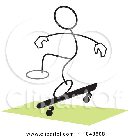 Royalty-Free (RF) Clip Art Illustration of a Stickler Skateboarding And Jumping Over Green - 1 by Johnny Sajem