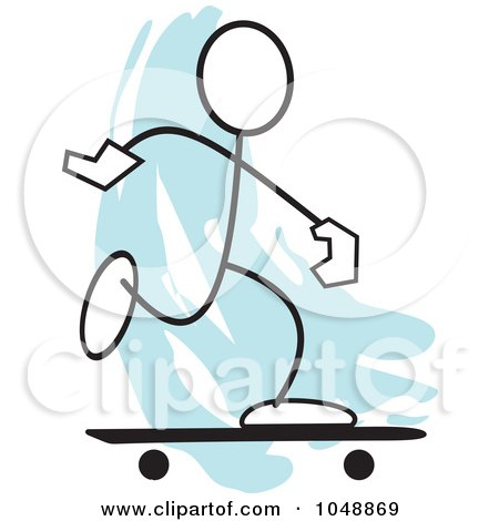 Royalty-Free (RF) Clip Art Illustration of a Stickler Skateboarding Over Blue by Johnny Sajem
