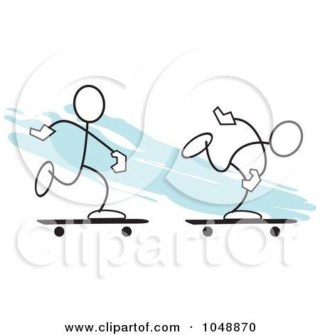 Royalty-Free (RF) Clip Art Illustration of Two Sticklers Skateboarding Over Blue by Johnny Sajem