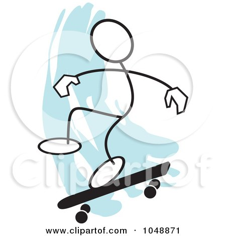 Royalty-Free (RF) Clip Art Illustration of a Stickler Skateboarding And Jumping Over Blue - 1 by Johnny Sajem