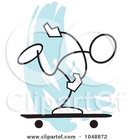 Royalty-Free (RF) Clip Art Illustration of a Stickler Skater Over Blue by Johnny Sajem