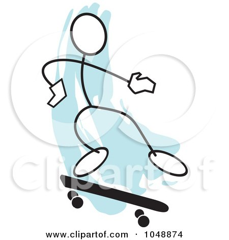 Royalty-Free (RF) Clip Art Illustration of a Stickler Skateboarding And Jumping Over Blue - 2 by Johnny Sajem