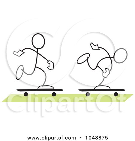 Royalty-Free (RF) Clip Art Illustration of Two Sticklers Skateboarding Over Green by Johnny Sajem