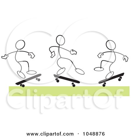 Royalty-Free (RF) Clip Art Illustration of Three Sticklers Skateboarding Over Green by Johnny Sajem