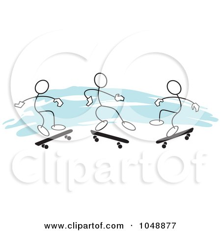 Royalty-Free (RF) Clip Art Illustration of Three Sticklers Skateboarding Over Blue by Johnny Sajem