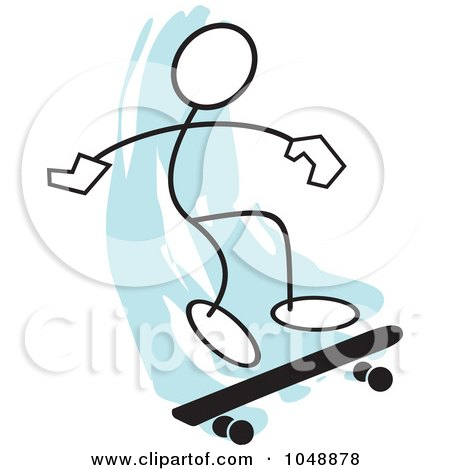 Royalty-Free (RF) Clip Art Illustration of a Stickler Skateboarding And Jumping Over Blue - 3 by Johnny Sajem