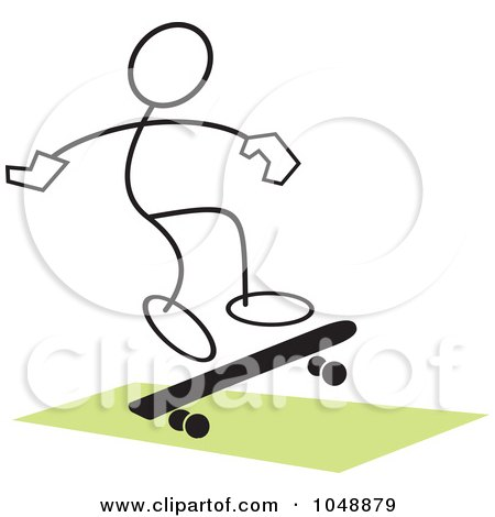 Royalty-Free (RF) Clip Art Illustration of a Stickler Skateboarding And Jumping Over Green - 3 by Johnny Sajem