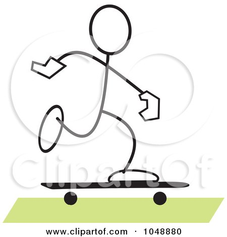 Royalty-Free (RF) Clip Art Illustration of a Stickler Skateboarding Over Green by Johnny Sajem