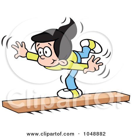 Royalty-Free (RF) Clip Art Illustration of a Little Girl On A Balance Beam by Johnny Sajem