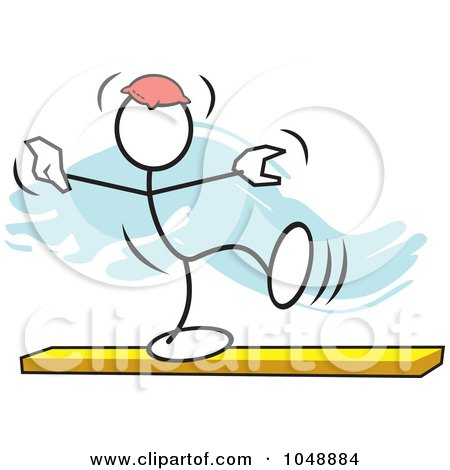 Royalty-Free (RF) Clip Art Illustration of a Stickler Balancing A Bean Bag On His Head On A Beam Over Blue by Johnny Sajem