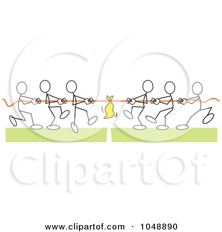 Royalty-Free (RF) Clip Art Illustration of Sticklers Pulling In Tug Of War Over Green by Johnny Sajem