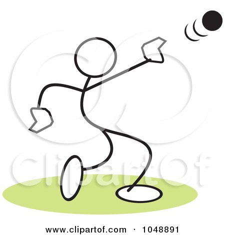 Royalty-Free (RF) Clip Art Illustration of a Stickler Throwing A Shot Put Over Green by Johnny Sajem