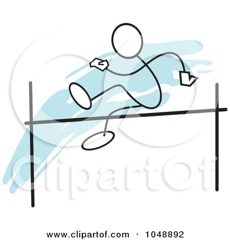 Royalty-Free (RF) Clip Art Illustration of a Stickler Doing A High Jump Over Blue by Johnny Sajem