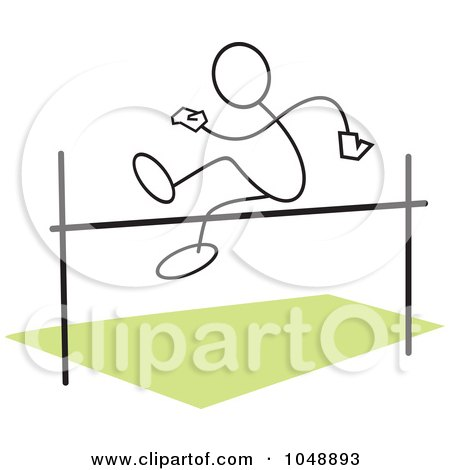 Royalty-Free (RF) Clip Art Illustration of a Stickler Doing A High Jump Over Green by Johnny Sajem