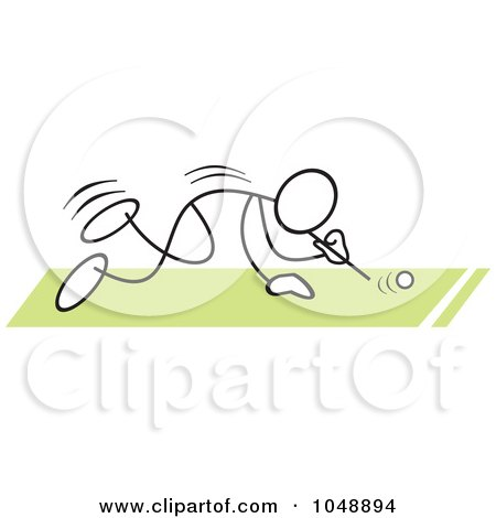 Royalty-Free (RF) Clip Art Illustration of a Stickler Doing A Ping Pong Ball Blow Race Over Green by Johnny Sajem