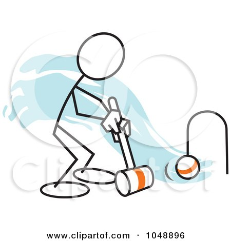 Royalty-Free (RF) Clip Art Illustration of a Stickler Playing Croquet Over Blue by Johnny Sajem