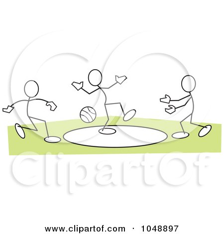 Royalty-Free (RF) Clip Art Illustration of Sticklers Playing Dodgeball Over Green by Johnny Sajem