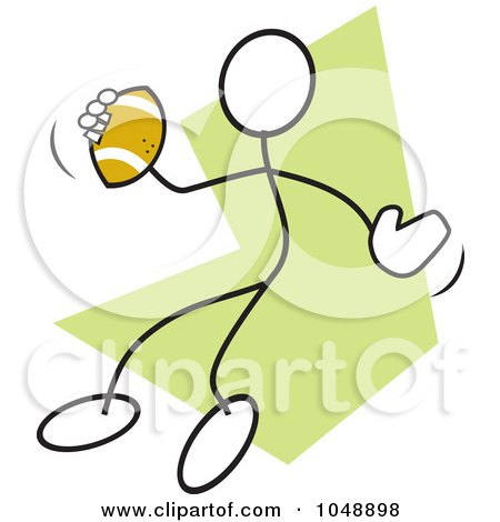Royalty-Free (RF) Clip Art Illustration of a Stickler Passing A Football Over Green by Johnny Sajem