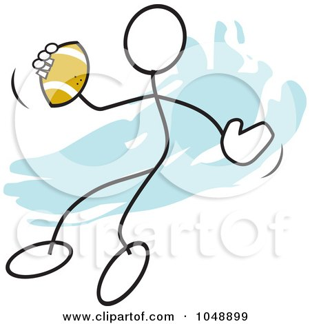 Royalty-Free (RF) Clip Art Illustration of a Stickler Passing A Football Over Blue by Johnny Sajem