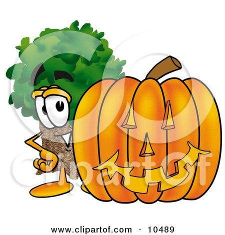 Clipart Picture of a Tree Mascot Cartoon Character With a Carved Halloween Pumpkin by Toons4Biz