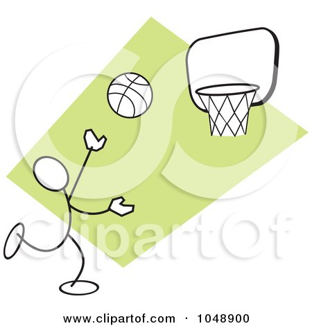 Royalty-Free (RF) Clip Art Illustration of a Stickler Shooting Hoops Over green by Johnny Sajem