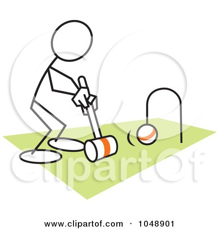 Royalty-Free (RF) Clip Art Illustration of a Stickler Playing Croquet Over Green by Johnny Sajem