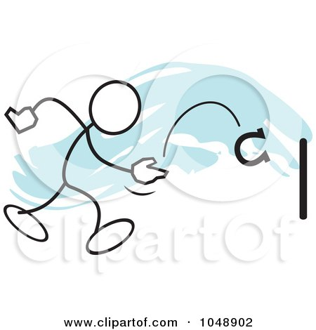 Royalty-Free (RF) Clip Art Illustration of a Stickler Playing Horse Shoes Over Blue by Johnny Sajem