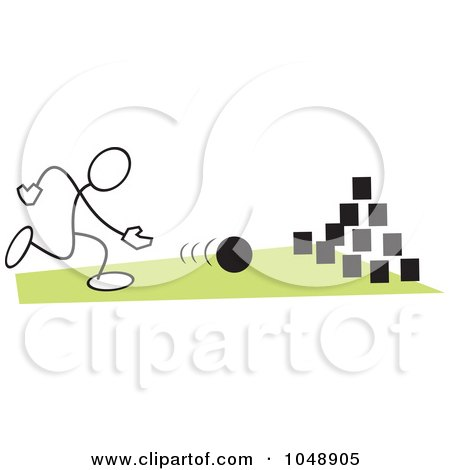 Royalty-Free (RF) Clip Art Illustration of a Stickler Bowling On Field Day Over Green by Johnny Sajem