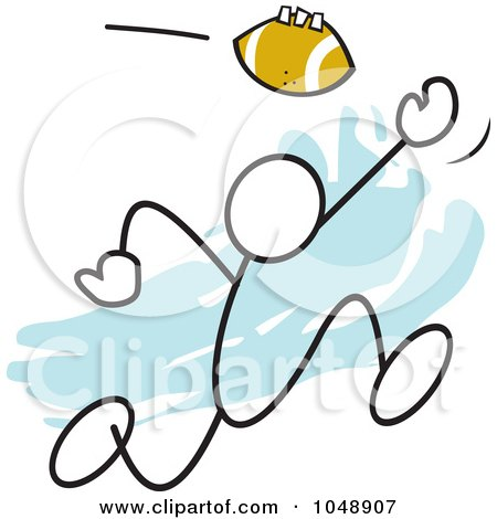 Royalty-Free (RF) Clip Art Illustration of a Stickler Catching A Football Over Blue by Johnny Sajem
