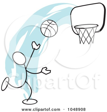 Royalty-Free (RF) Clip Art Illustration of a Stickler Shooting Hoops Over Blue by Johnny Sajem