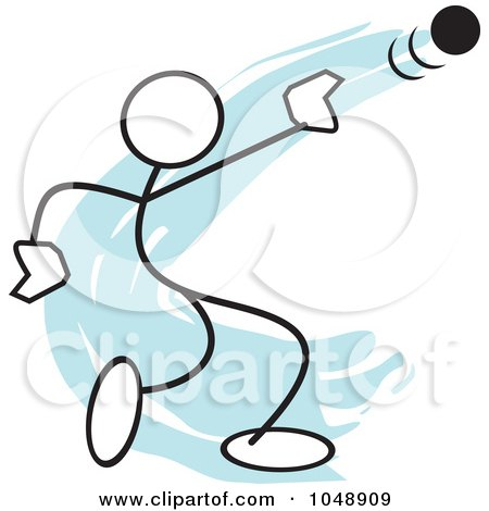 Royalty-Free (RF) Clip Art Illustration of a Stickler Throwing A Shot Put Over Blue by Johnny Sajem
