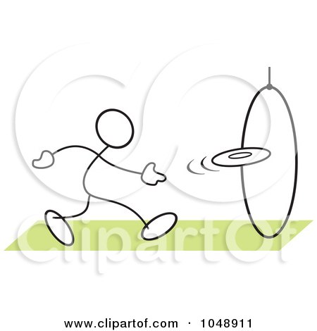 Royalty-Free (RF) Clip Art Illustration of a Stickler Tossing A Frisbee Through A Hoop by Johnny Sajem
