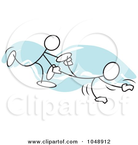 Royalty-Free (RF) Clip Art Illustration of Sticklers In A Wheel Barrow Race Over Blue by Johnny Sajem