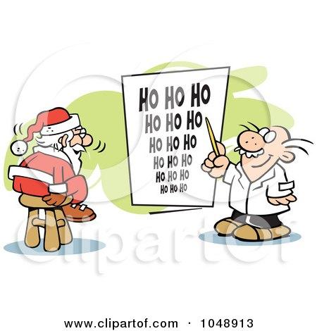 Royalty-Free (RF) Clip Art Illustration of Santa Taking An Eye Exam by Johnny Sajem