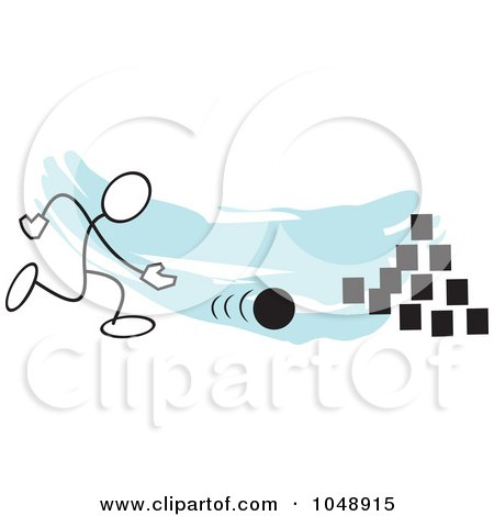 Royalty-Free (RF) Clip Art Illustration of a Stickler Bowling On Field Day Over Blue by Johnny Sajem