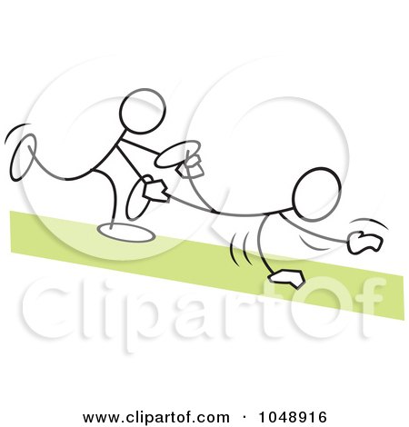 Royalty-Free (RF) Clip Art Illustration of Sticklers In A Wheel Barrow Race Over Green by Johnny Sajem
