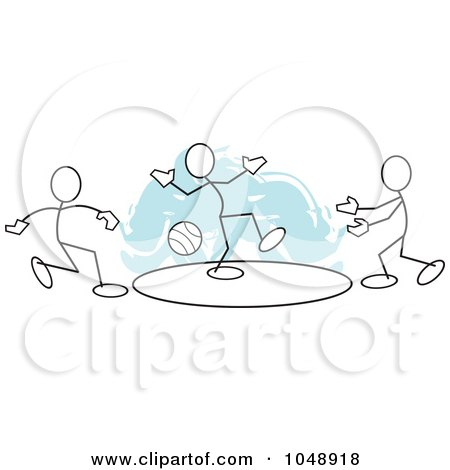 Royalty-Free (RF) Clip Art Illustration of Sticklers Playing Dodgeball Over Blue by Johnny Sajem